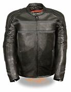 Milwaukee Menand039s Reflective Band And Piping Scooter Leather Jacket