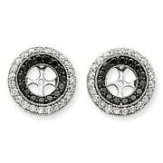 14k White Gold Black And White Diamond 2.00ct G/si1 Halo Earring Jacket For Studs