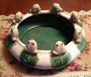 Vintage Art Bowl Frogs Lily Pad Pond Green Cream Handmade Pottery Ceramic 1940's