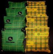 Green Plaid Country With John Deere Fabric 8 Aca Regulation Corn Hole Game Bags