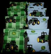 Plaid Tractor Country With John Deere Fabric 8aca Regulation Corn Hole Game Bags