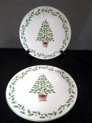 2 Lenox Porcelain Luncheon Plates 9 Holiday Pattern Holly And Christmas Tree