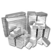 Silver Cotton Filled Gift Boxes Silver Jewelry Gift Box Jewelry 2050100500