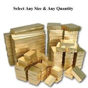 Cotton Filled Jewelry Boxes Gold Color Gift Boxes For Jewelry Lots 2050100500