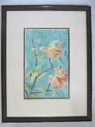 Original Watercolor Artwork By Meloy '94 - Orange Oriental Lily Glass Wood Frame