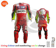 New Two Piece Tim Racing Leather Suit In Red Leather Motorgp Racing Apparel Sale