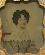 Antique Early American Womens Fashion Bonnet Gold Necklace Ambrotype Fine Photo