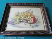 Wishmaker's House Ensemble Birds And Fruits Lithograph, Professionally Framed