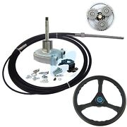 15ft Marine Boat Steering System Helm With Steering Cable And Wheel Planetary Gear