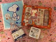 Snoopy And Woodstock Vintage Bento Lunch Box Plastic Container Stationaries Rare