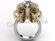 14k Two Tone White And Yellow Gold Diamond Flower Engagement Ring Er-1030-4
