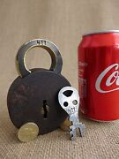 Antique Padlock With One Key Working Order Mark Number 411 Brass Details.