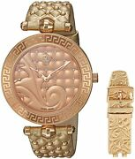 Versace Womenand039s Vk7190014 Vanitas Gold Ip Gold Leather 2 Bands Diamonds Watch