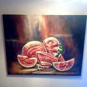 Melons On The Tableandldquo Wow Watermelon Masterpiece On Wood Huge Textured Painting