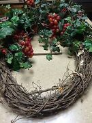Twig Wreath With Cranberryand039s And Silk Ivy From Decorator Warehouse