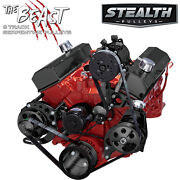 Black Sbc Serpentine Conversion Kit - Ac And Power Steering, Electric Water Pump