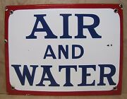 Old Porcelain Air And Water Sign Red White Blue Usa Gas Station Repair Shop Adv