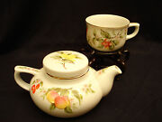 Fruit And Blossoms By Sadek Individual Teapot And Lid With Cup Set 2 3/4