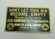 Old Company's Lehigh Anthracite Coal Brass Plaque Sign Nyack Iceandcoal Co Ny