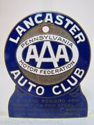 Old Enamel Lancaster Auto Club License Plate Topper Penna Aaa Motor Federation