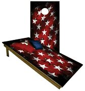 Cornhole Faded Blue And Red Star Flag Boards Beanbag Toss Game W Bags