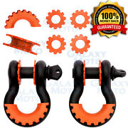 1 Pair 3/4 Black 4.75 Ton D-ring Shackle+orange Isolator Washer Silencer Clevis