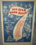 All-star Bond Rally And03944 Linen Backed Rare One Sheet Wwii With Frank Sinatra Etc