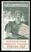 Italy Poster Stamp - 1898 General Exposition Torino Turin Type 2