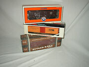 Lionel 6-19528, 6-16498 And Mth 33-7701 0-27 Freight Cars Lot B-65