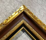 4.5 Wide Classic Antique Gold Brown Ornate Wood Picture Frame Black Liner 701gb