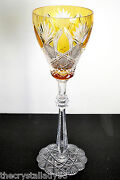1 Faberge Czar Amber Gold Cased Cut To Clear Crystal 11 Water Goblet Signed