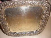 Exquisite Antique Sterling Silver Repousse Serving Tray Henry Pierrepont