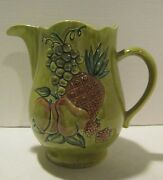 """Vintage olive green w embossed fruit large 9"""" California made pitched - marked"""