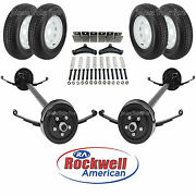 Tandem 3,500 Lb Electric Brake Trailer Axle Kit W/wheels And Tires - 7k - 84/70