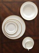 Wedgwood China Service For 12 White W/gold Bands, Includes Salad, Bread, Soup
