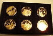 Symbols Of Freedom Statue Of Liberty 6 Bu Proof Medals Gold Plated In Box.