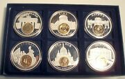 European Currencies 6 Bu Proof Medals In Box With Inlay Coin In Capsoules, Silve