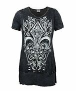 Vocal Women Plus Size Tunic Shirt Crystal Fleur Tribal V-neck Cowgirl In Black