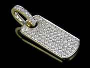 Solid 14k Yellow Gold Ice Out Dogtag Genuine Diamond Pendant Charm 2.0ct 1.5