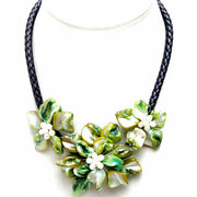 Baroque Green Shell Flower Pendant Necklace For Women With Pearl Black Rope 18''