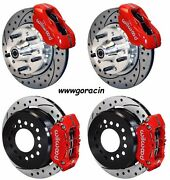 Wilwood Disc Brake Kit,65-72 Cdp A-body W/10 Drums,red Calip,11 Drilled Rotors