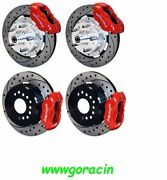 Wilwood Disc Brake Kit,complete,1965-69 Mustang,red Calipers,12 Drilled Rotors