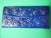 Mexican 100 Genuine Leather Handmade Royal Blue Wallet Rummy