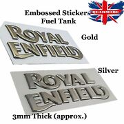 Royal Enfield Petrol Tank Bullet Classic Fuel Embossed 3d Sticker Gold Silver