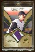 2010 Exquisite Troy Tulowitzki Gold D 01/50 Patch Logo Game Worn 3 Color Rare