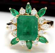 5.05ct Natural Emerald And Diamond 14k Solid Yellow Gold Ring