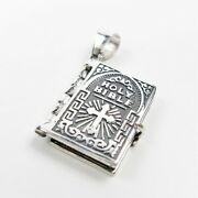 925 Sterling Silver Lordand039s Prayer Holy Bible Open Pages Locket Charm Pendant