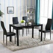 5 Piece Dining Table Set 4 Chair Glass Metal Kitchen Room Breakfast New