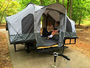 Folding Camper Tent And Utility Atv Trailer Motorcycle Camp Camping Popup Pop Up