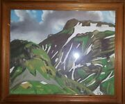Vintage Mountain Pastel Painting Geneva Swiss Pierre Guinand Expressionism Art